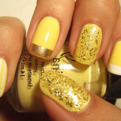 Лимонно-желтый маникюр с блестками