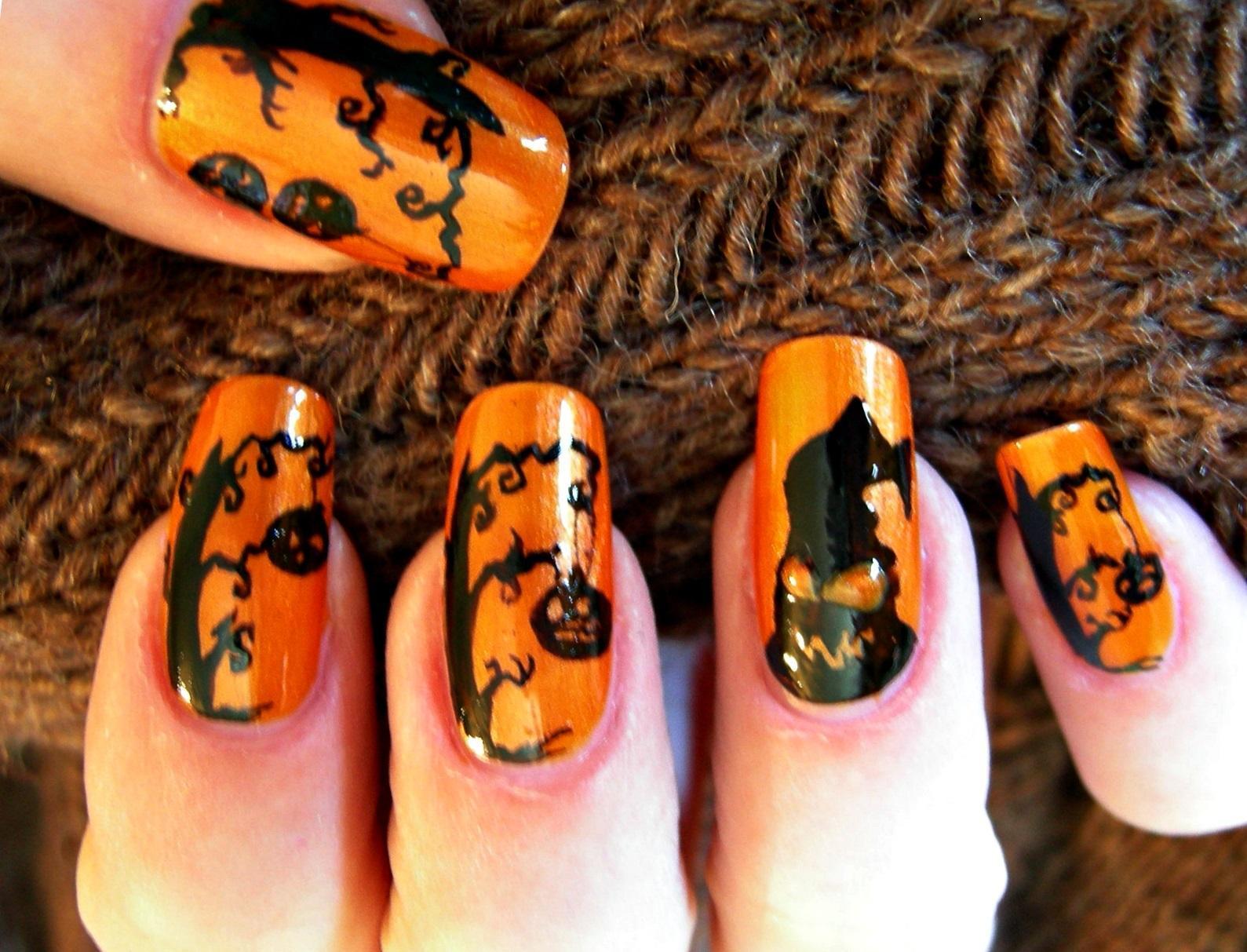 Наращенные ногти для Хэллоуина