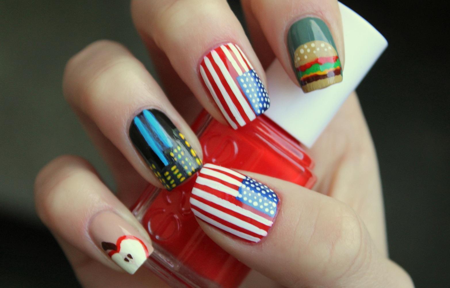 Американская тема: рисунки на ногтях