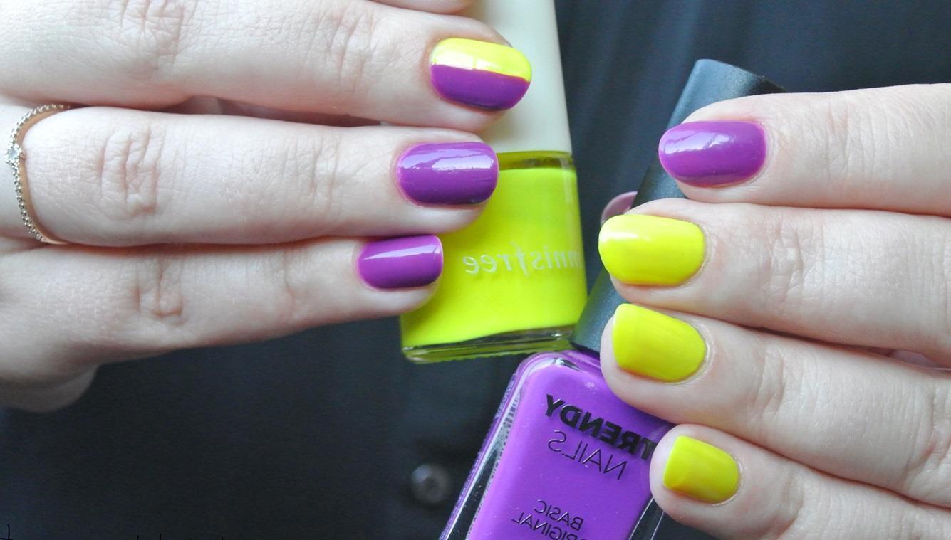 Желто фиолетовый педикюр