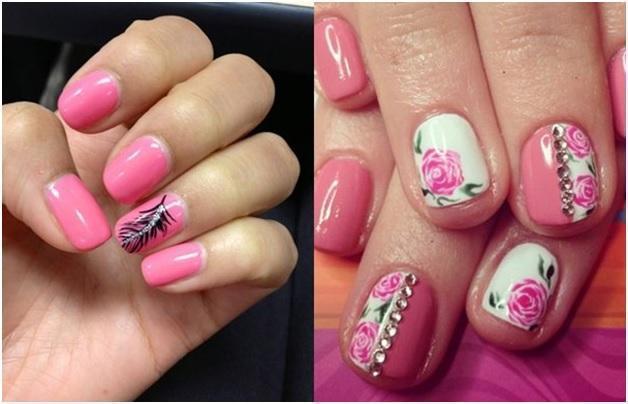 Нежный розовый шеллак с цветами