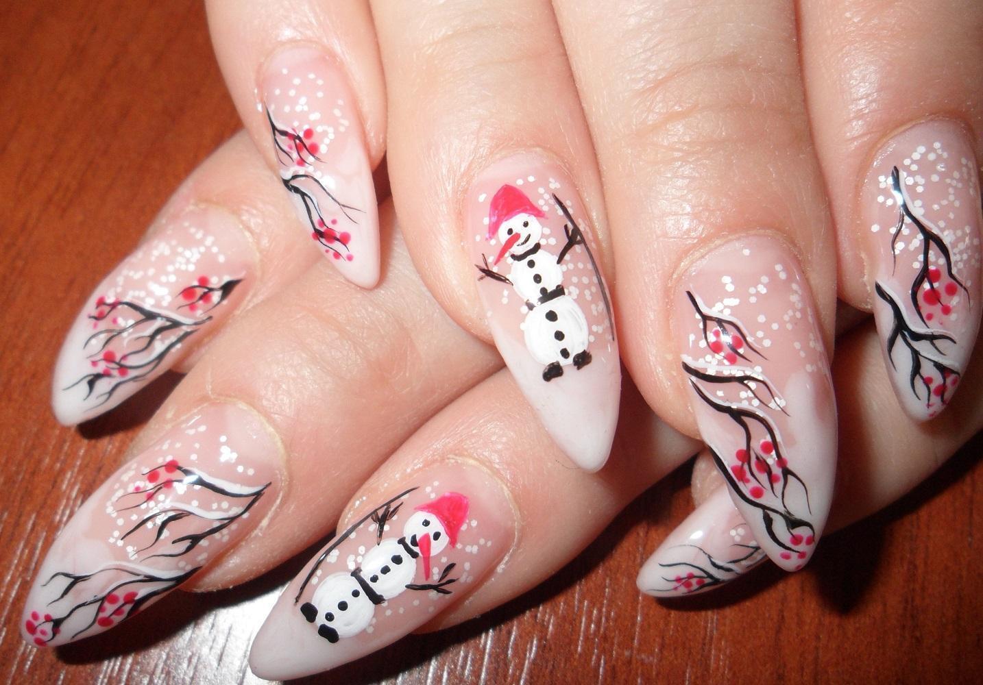 Наращенные ногти со снеговиками