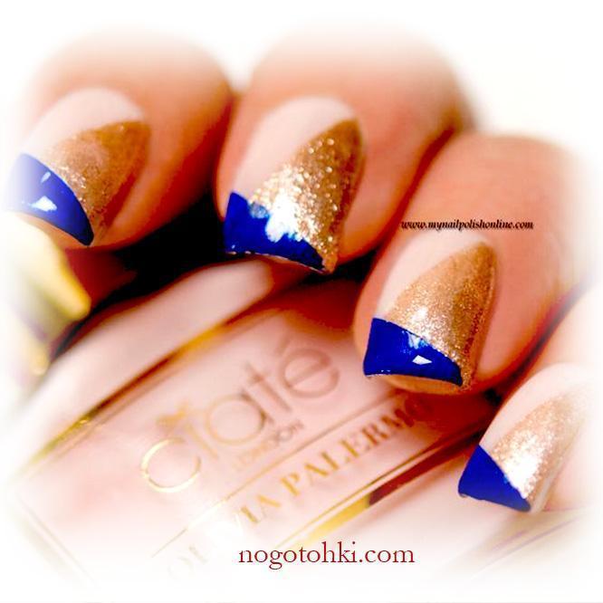 Геометрический сине-золотой френч