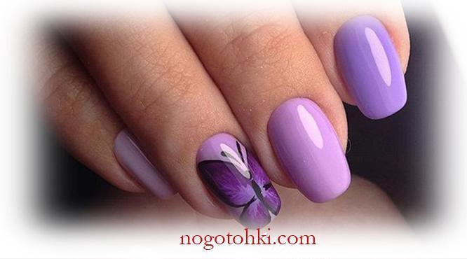 Сиреневое великолепие и нежная бабочка на ногтях