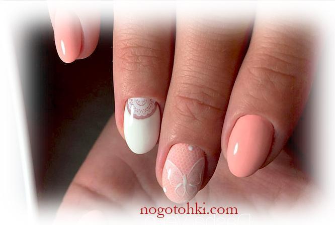 Нежно-розовый маникюр с бабочкой