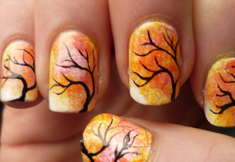 Осенний маникюр «оранжевые деревья»