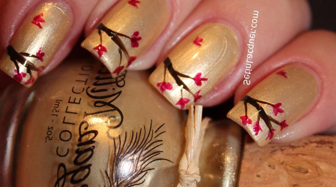 Художественная роспись на ногтях «ветвь сакуры»