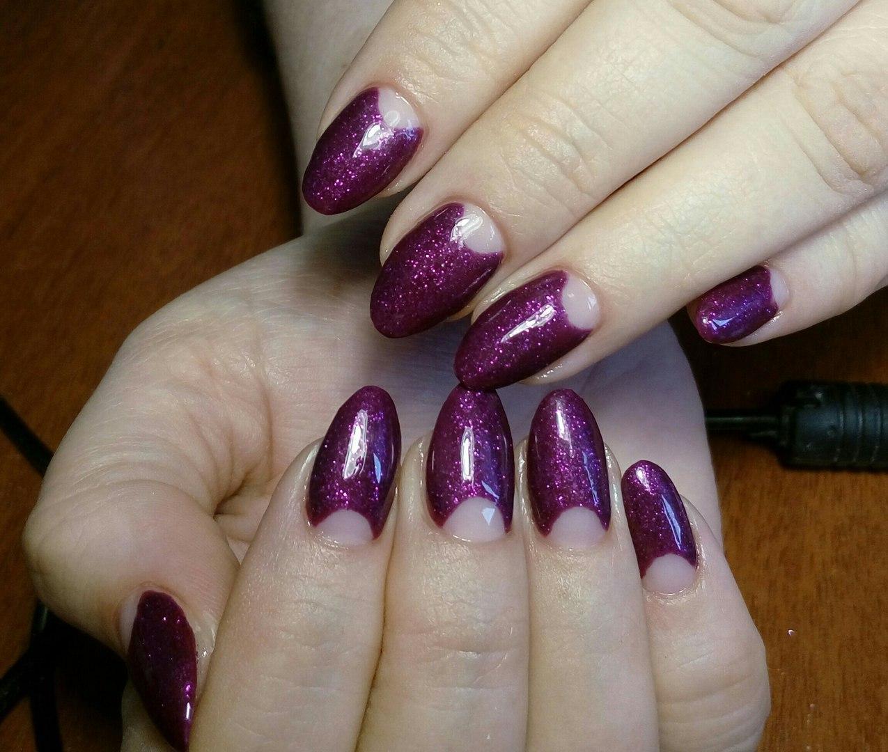 Фиолетовый лунный френч с блестками