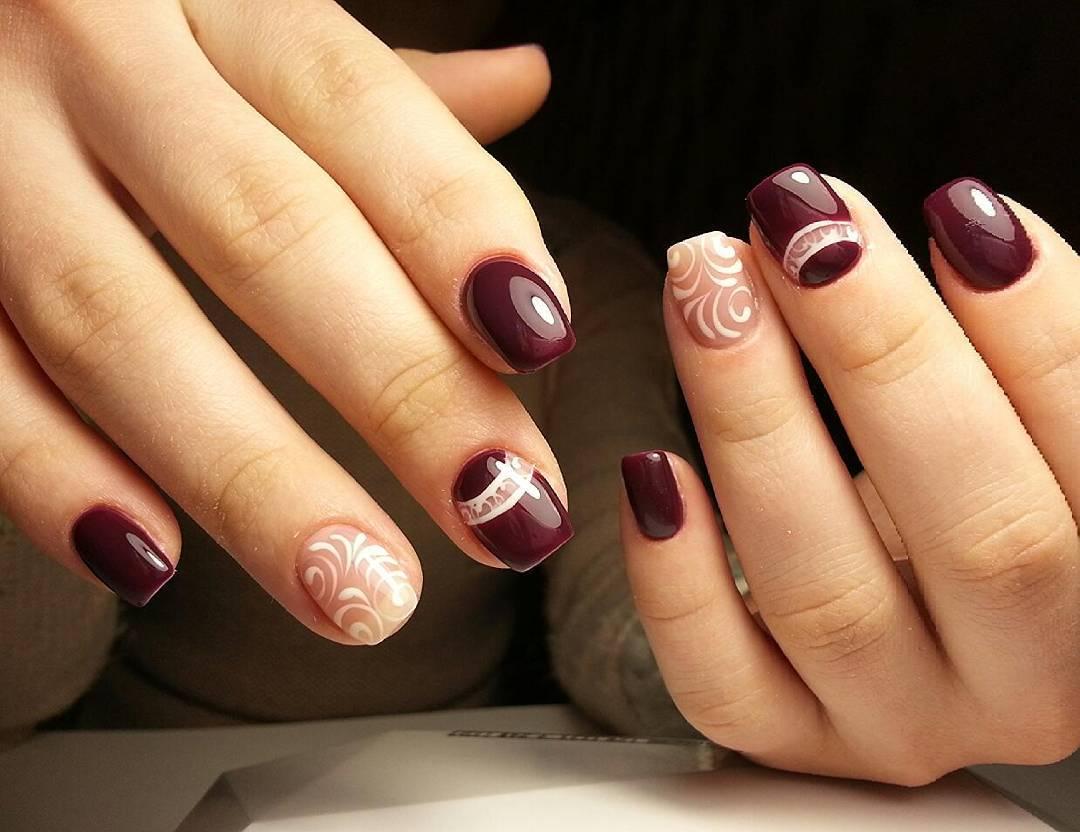Узоры на вишневых ногтях