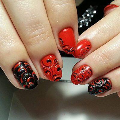 Чёрно-красные ногти с бабл завитушками