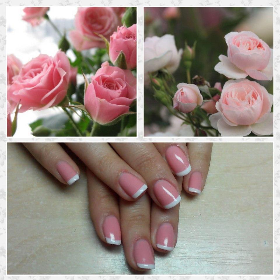 Очаровательные розовые ногти с френчем