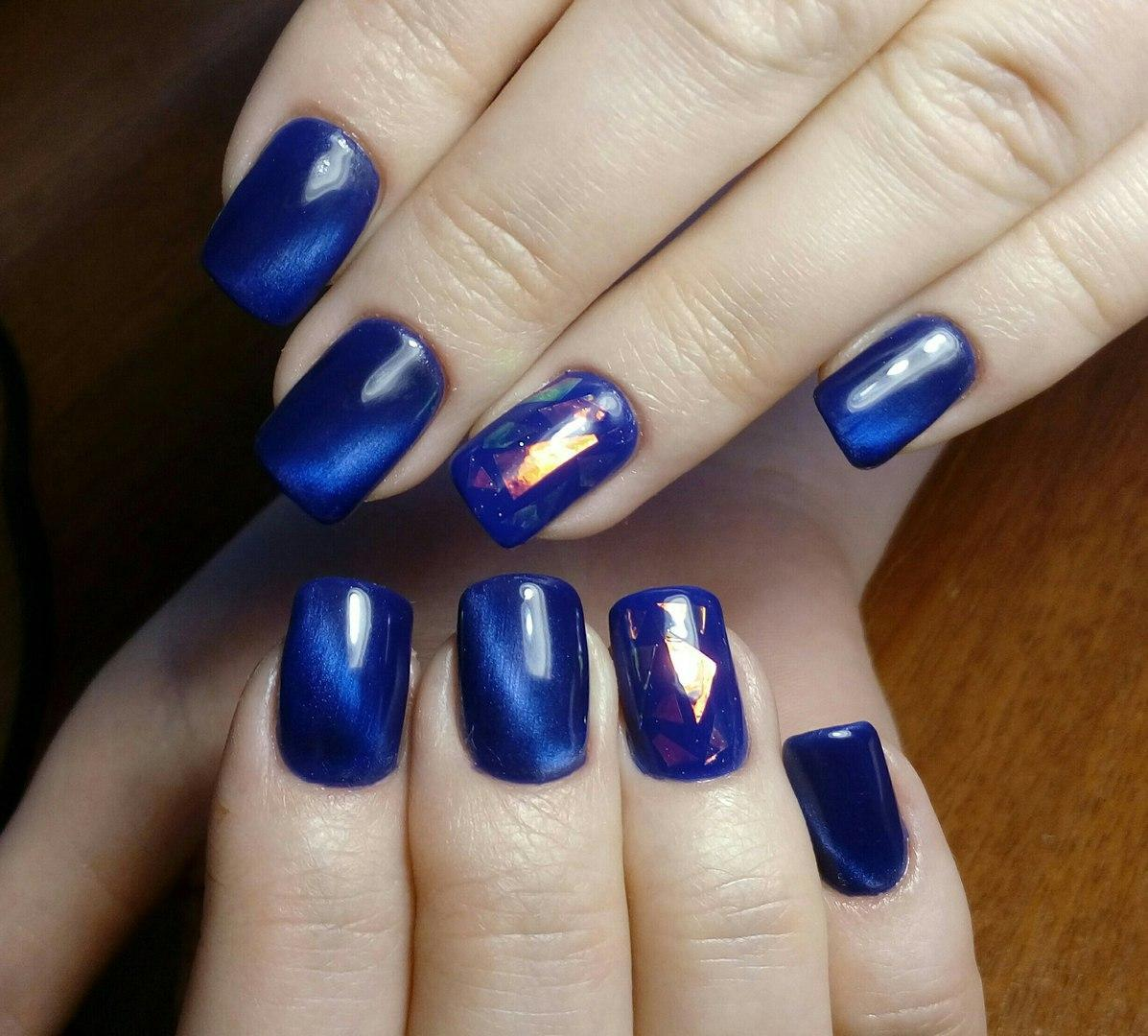 Яркий синий шеллак с битым стеклом
