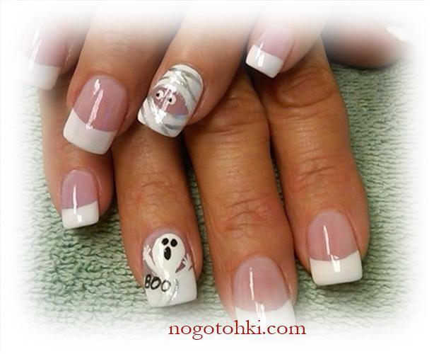 Белые ногти с рисунками для Хэллоуина