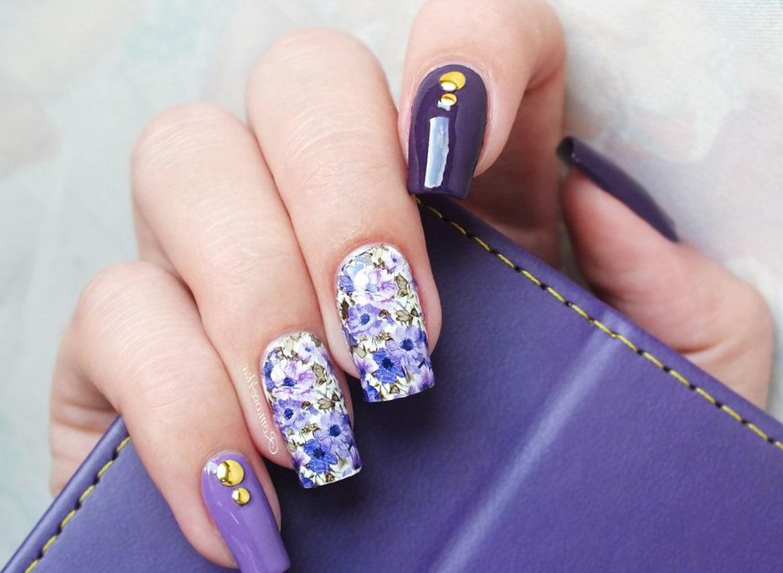 Фиолетовый слайдер-маникюр на длинные ногти