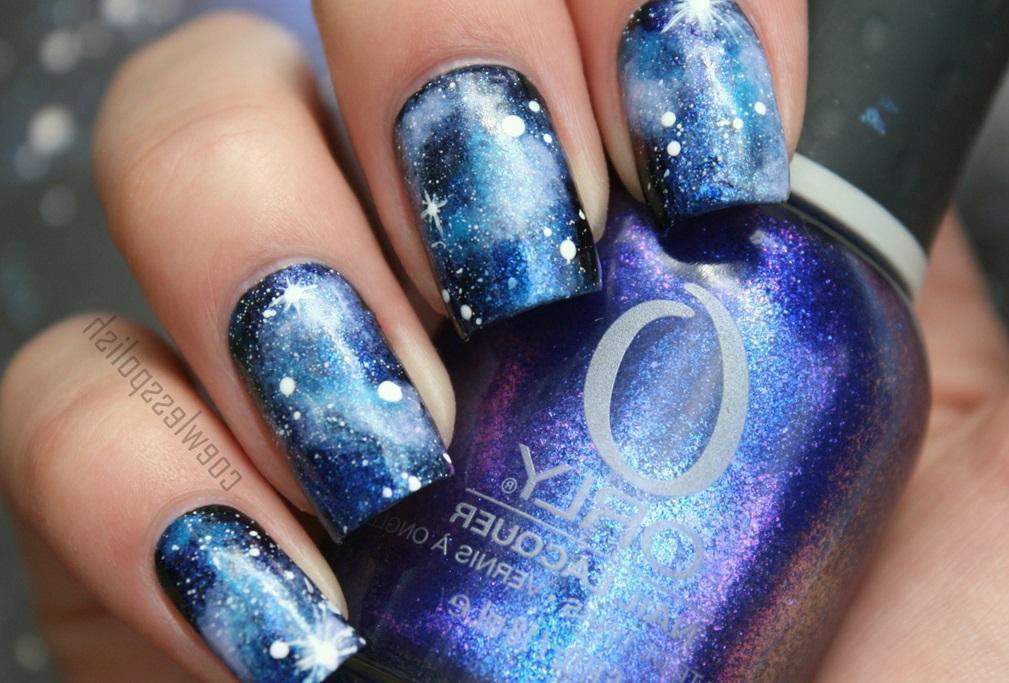 Сине-голубой галактический маникюр