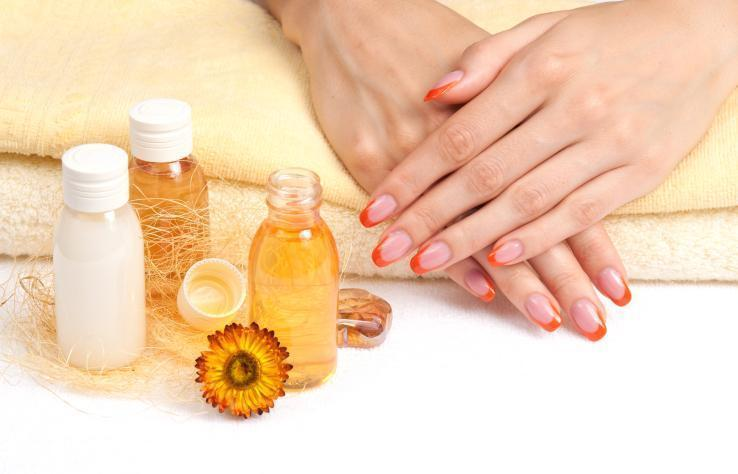 Spa manicure with essential oils