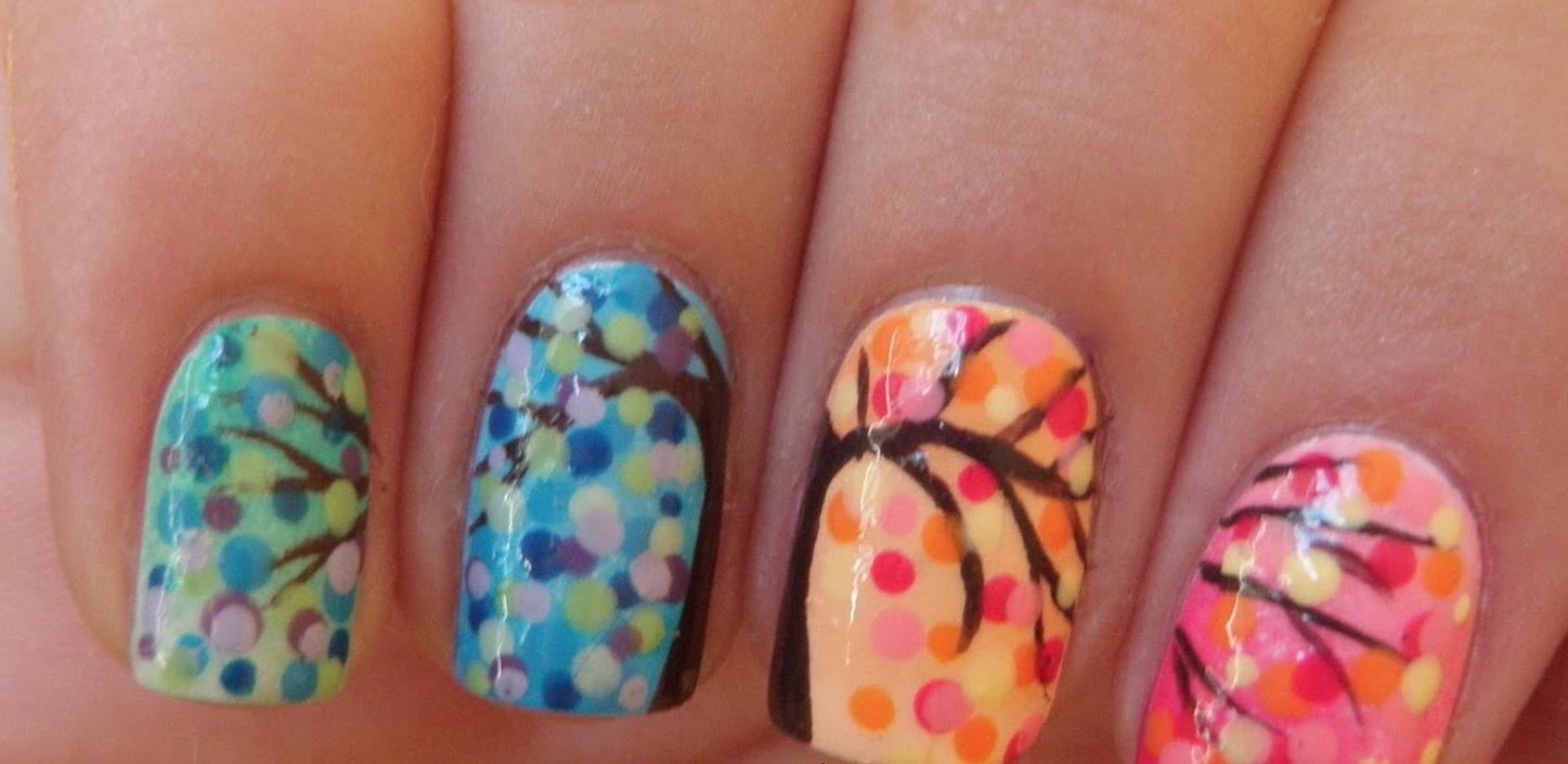 Осенний градиент с росписью на ногтях