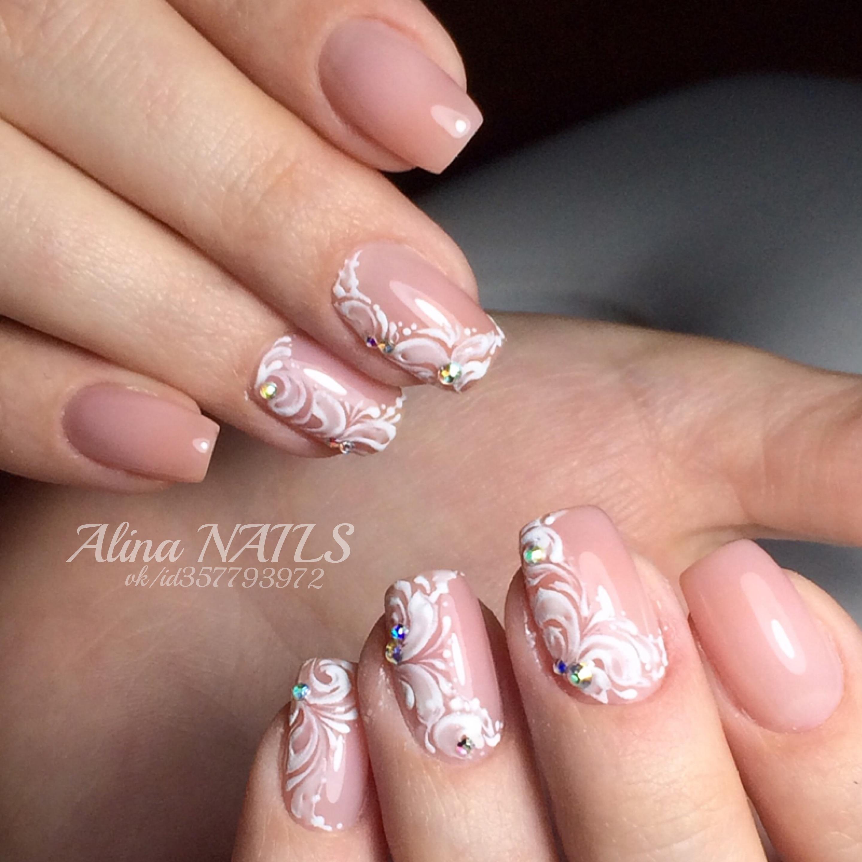 Свадебная роспись для средних ногтей