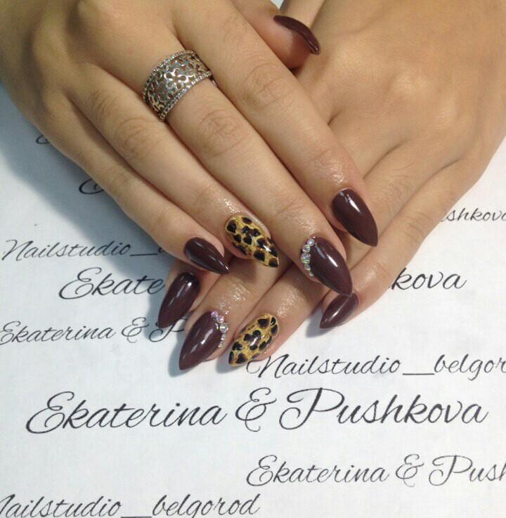 Благородный леопардовый принт на длинных ногтях