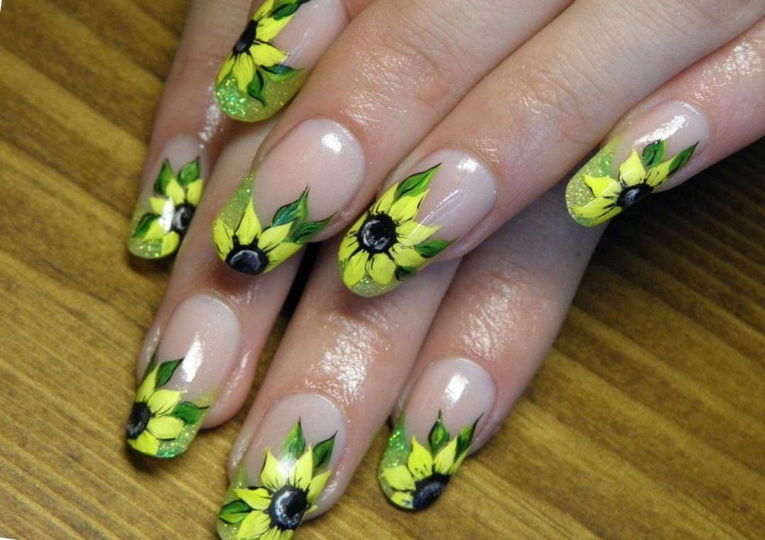 Солнечные цветы на длинные ногти