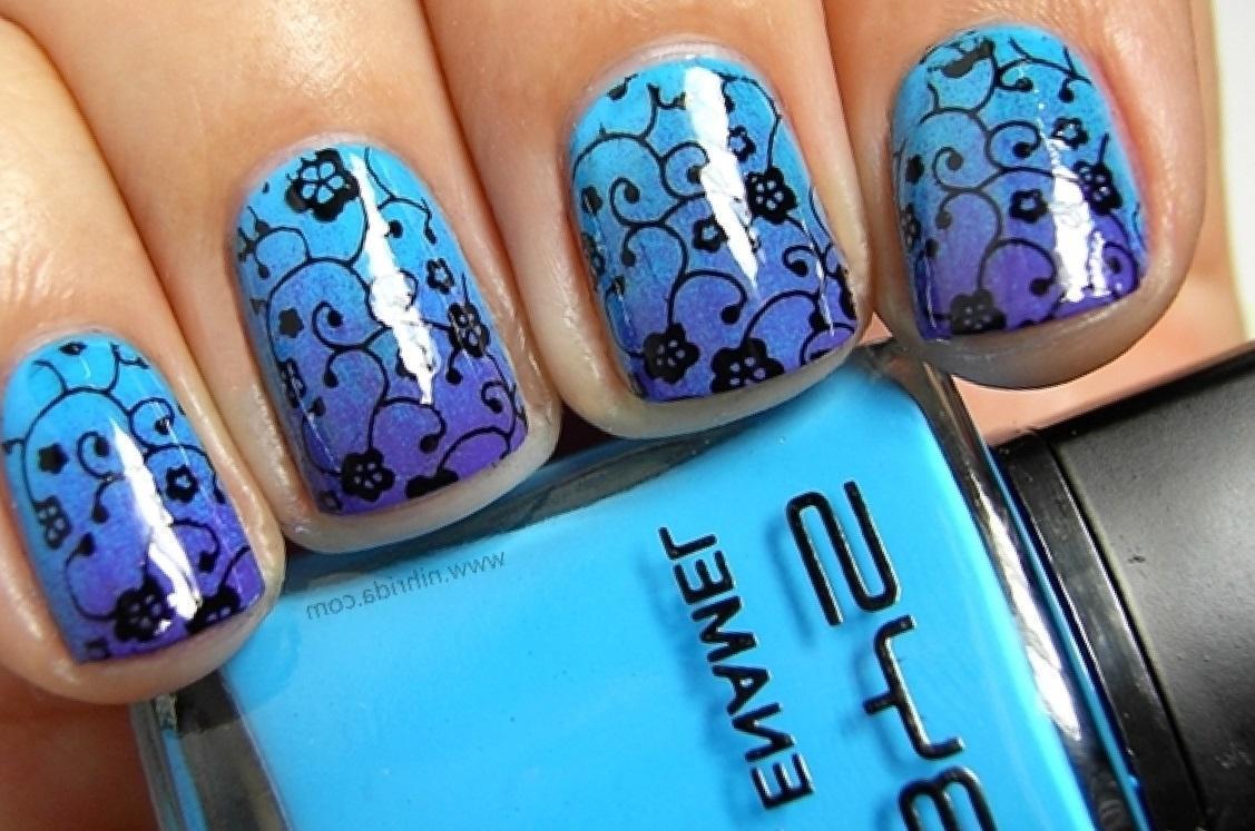 Голубой омбре с художественной росписью