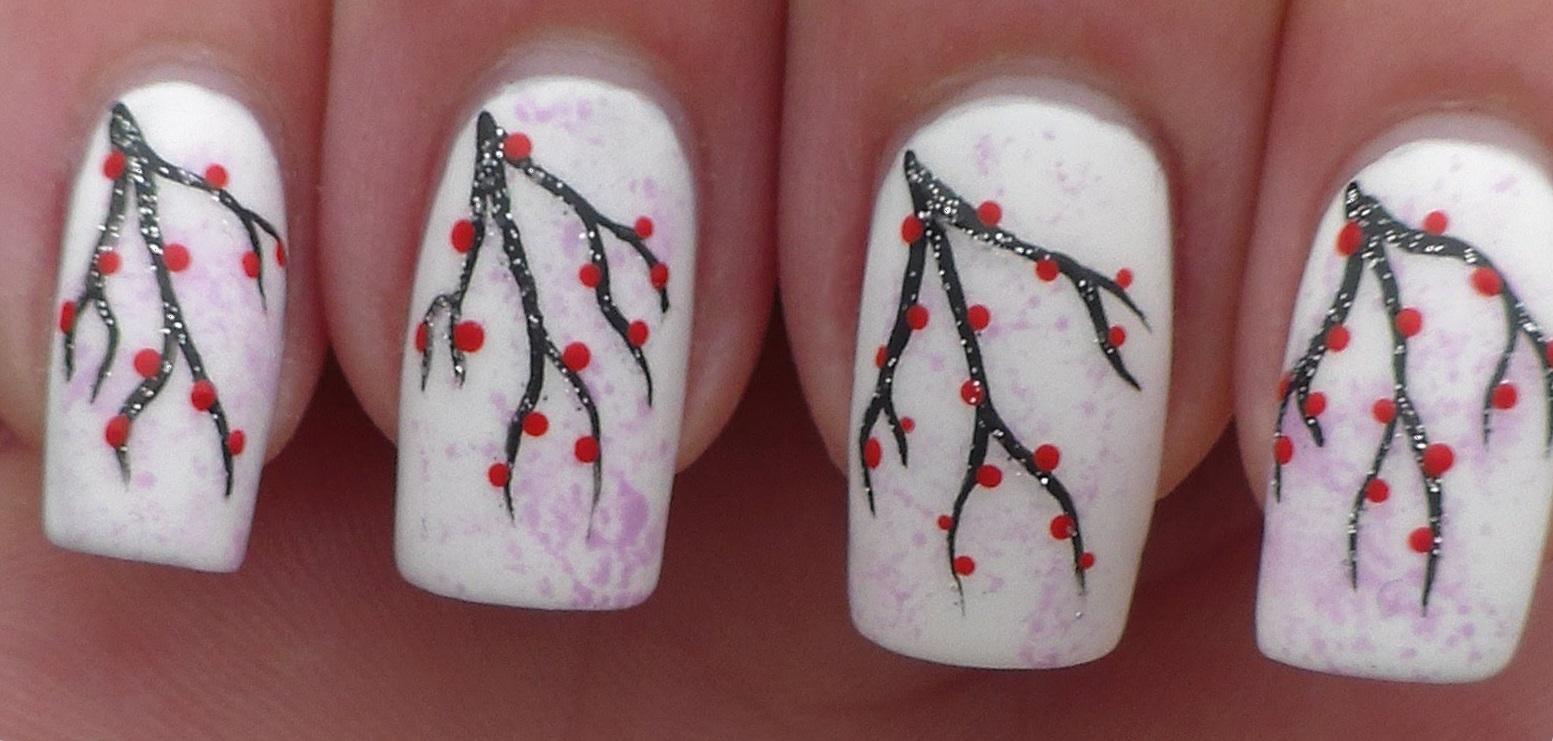 Роспись акрилом на длинных ногтях