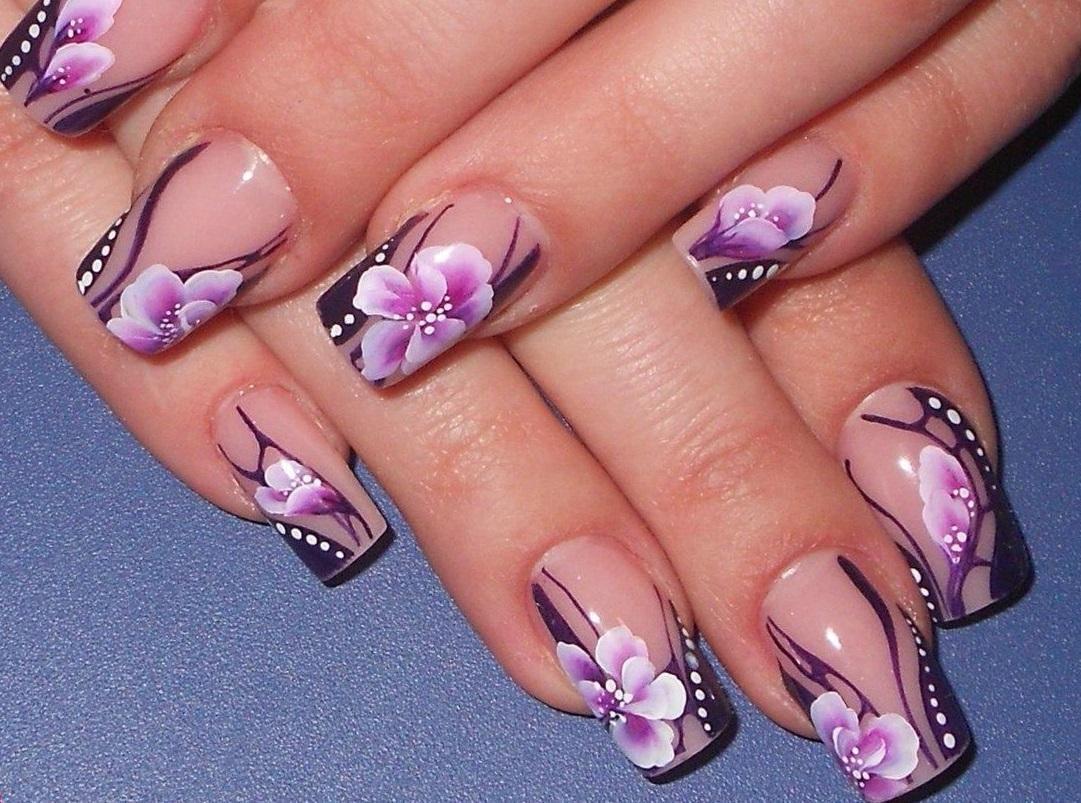 Роспись фиолетовыми цветами