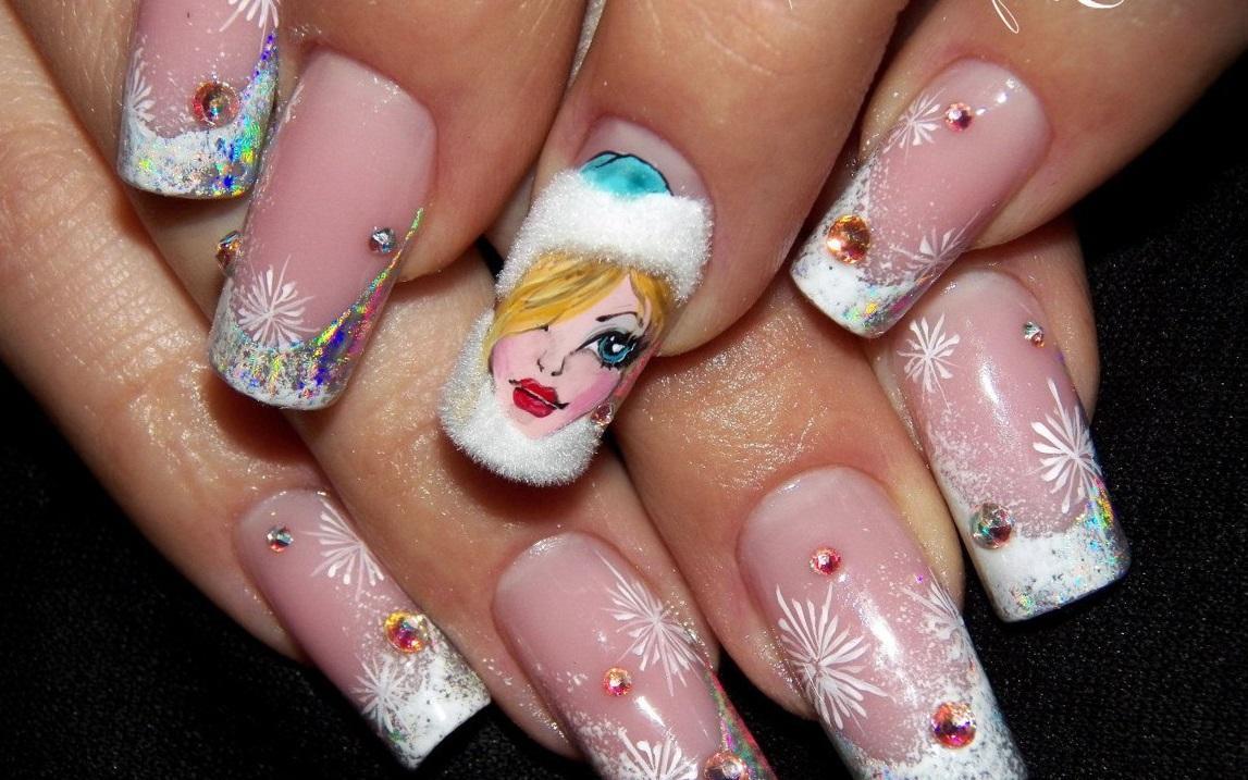 Маникюр для Снегурочки на длинные ногти