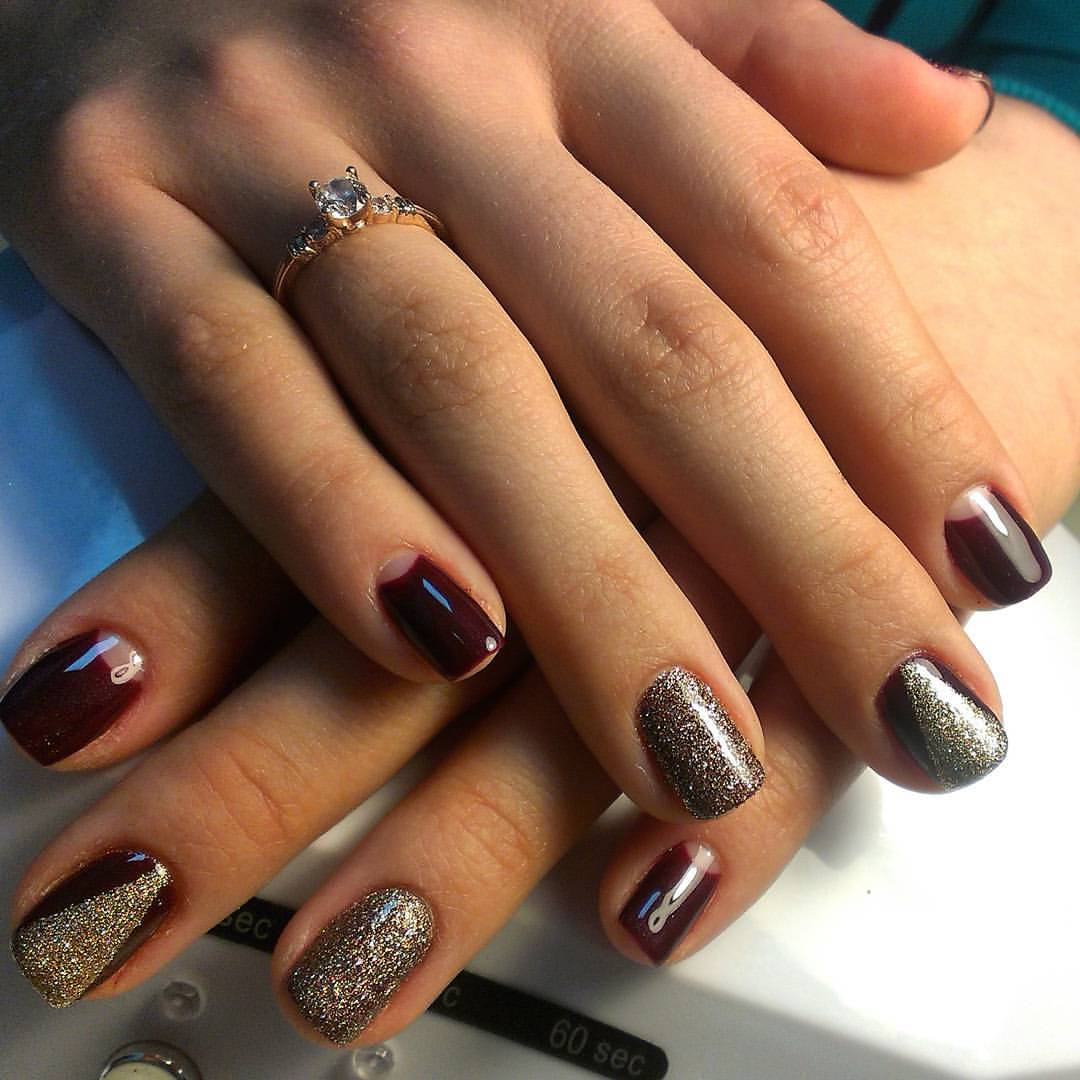 Фото ногтей с бордовым лаком