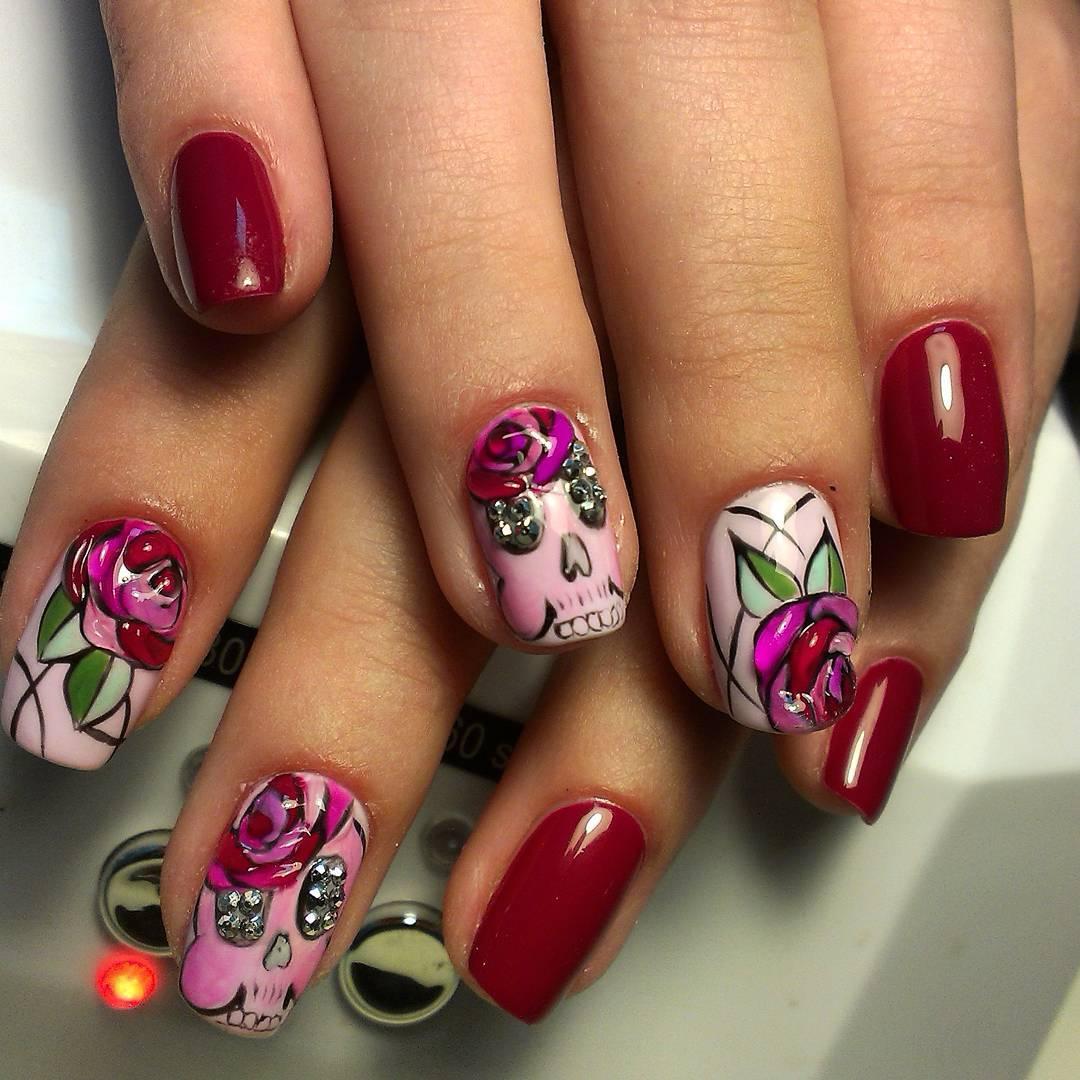Гламурный розовый через с цветком