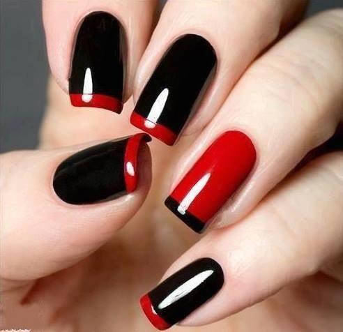 Красно-черный маникюр с френчем