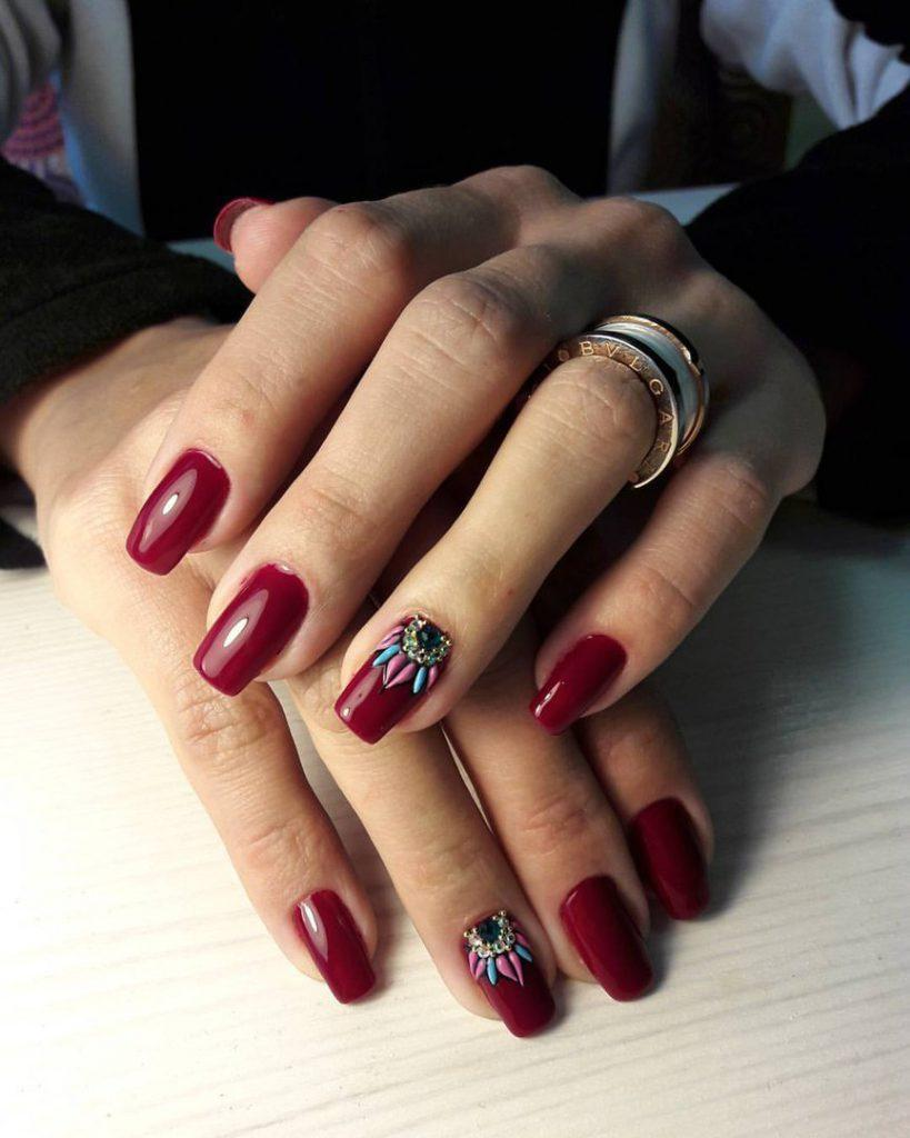 Дизайн ногтей вишневые ногти