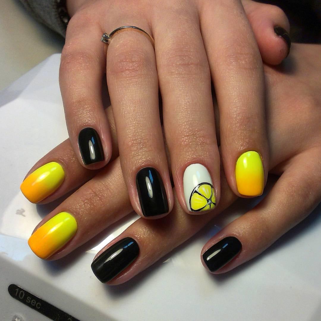 Кислые желтые лимончики на ногтях