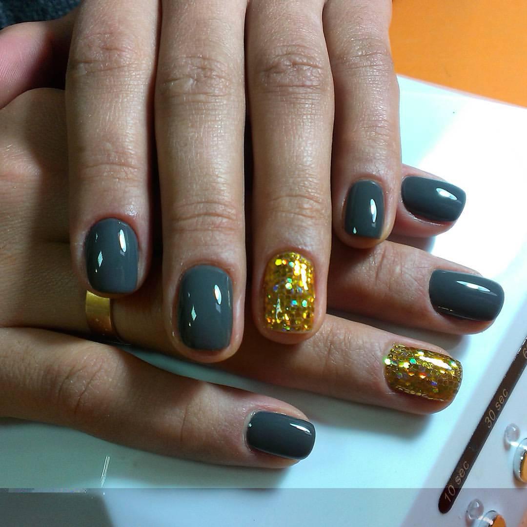 Асфальтные ногти с золотом