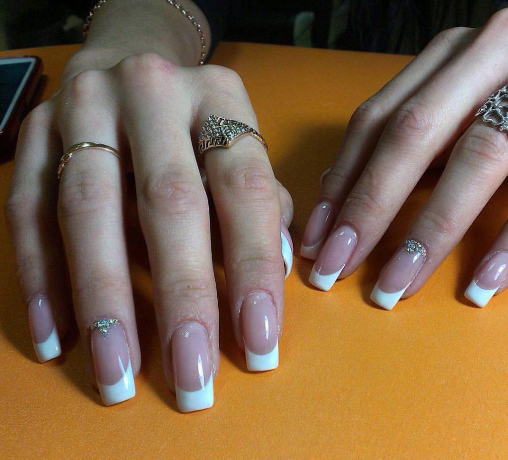 Шеллак дизайн френча на длинные ногти