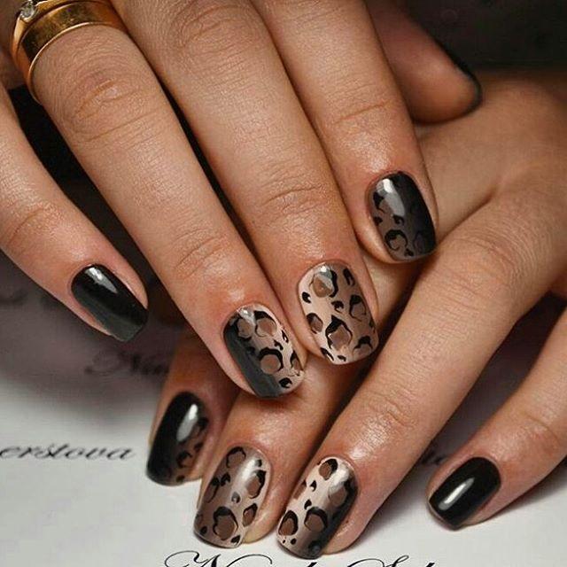 Леопардовые пятна на изящных ногтях