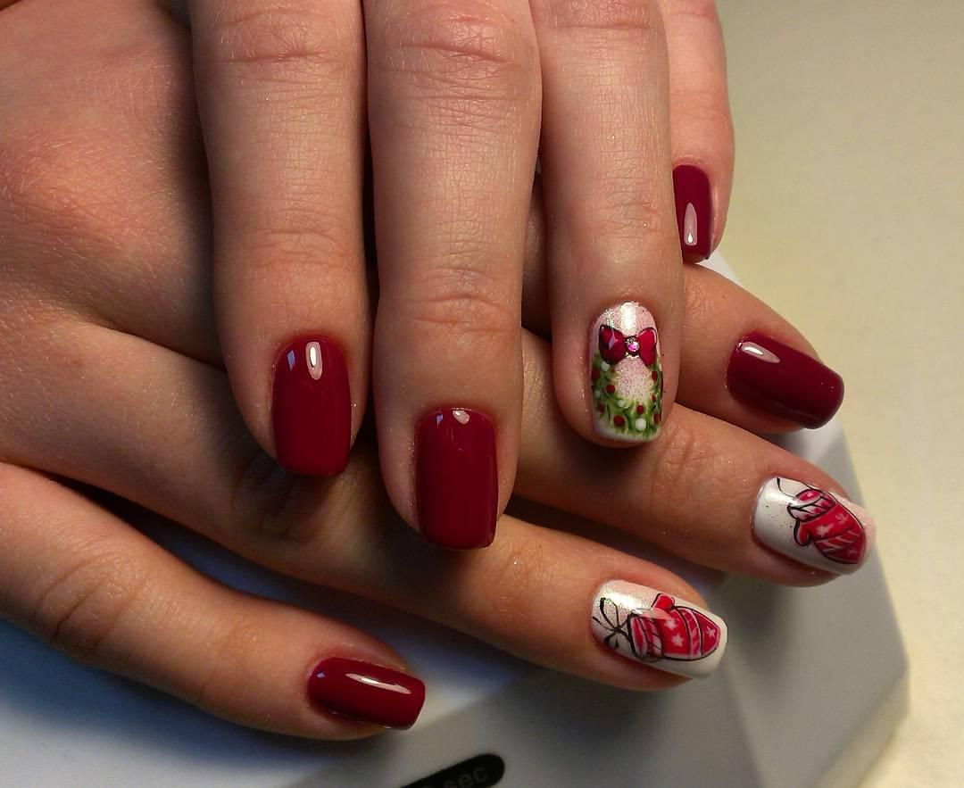 вишневый цвет маникюра новогодний фото что мода разных