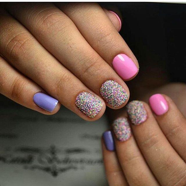 Сочные сахарные ногти разных цветов