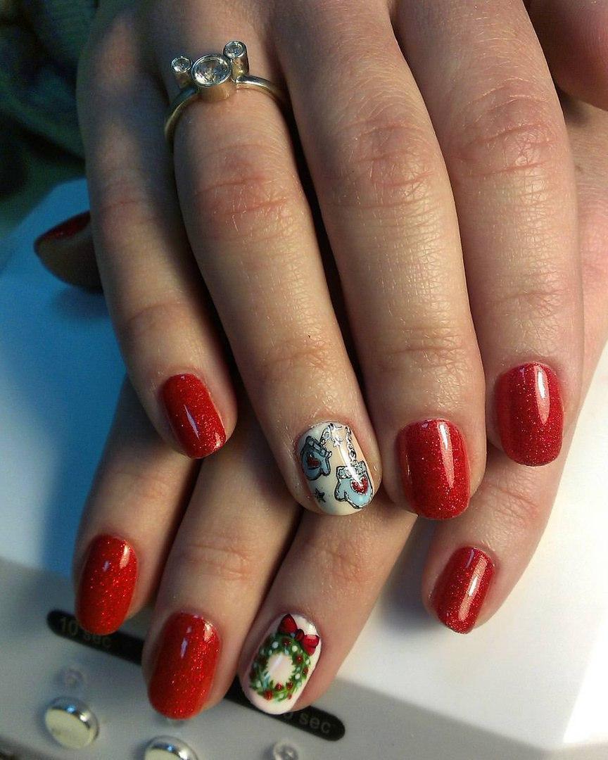 Праздничные веселые ногти на Новый год