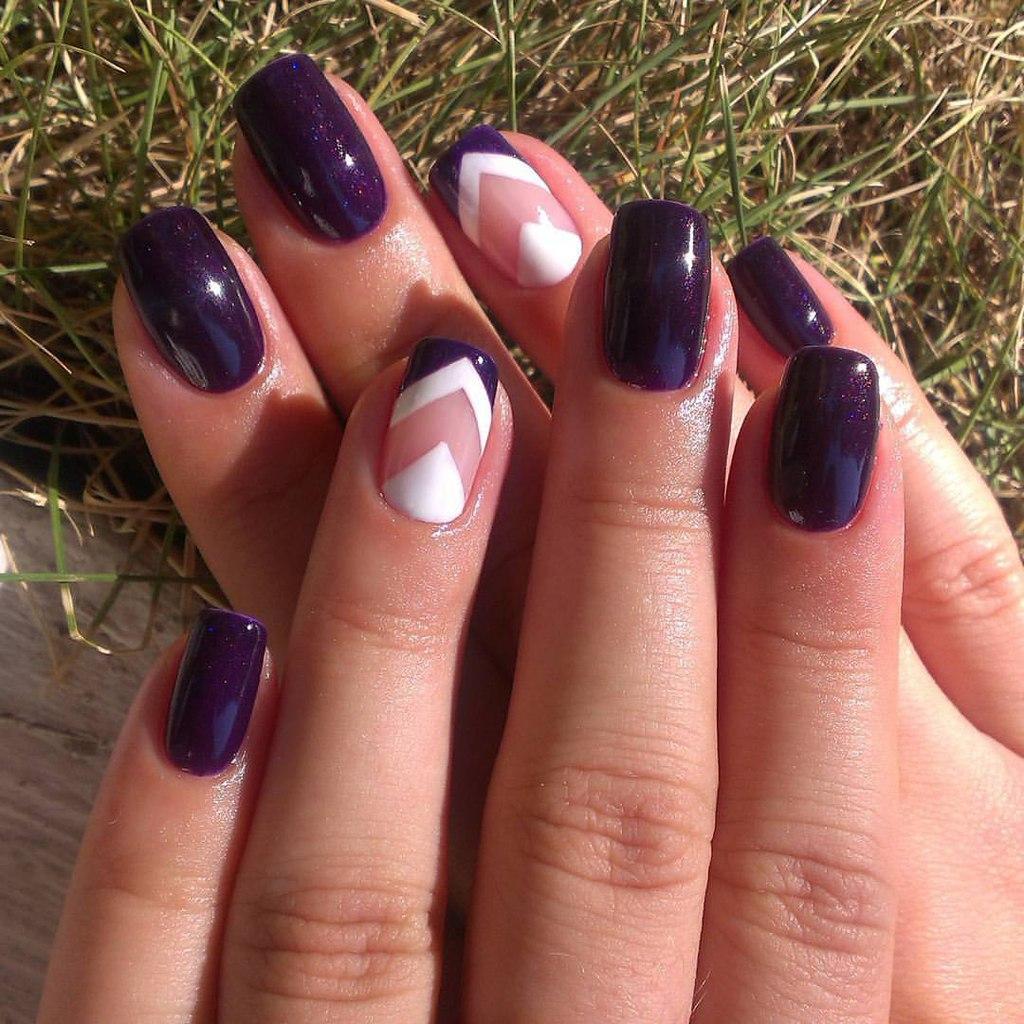 лаком фиолетовым гель маникюр фото с