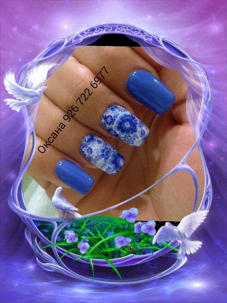 Зимушка — стильный маникюр в синем цвете