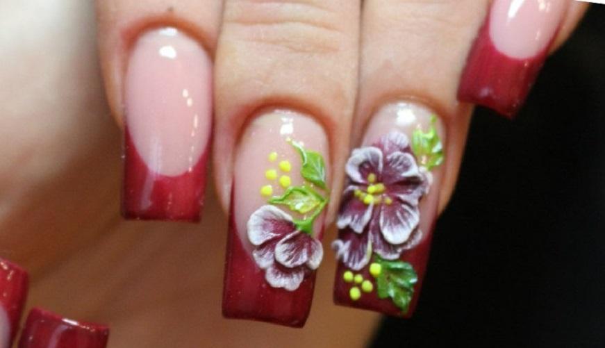Френч и красивейшие цветы на длинные ногти