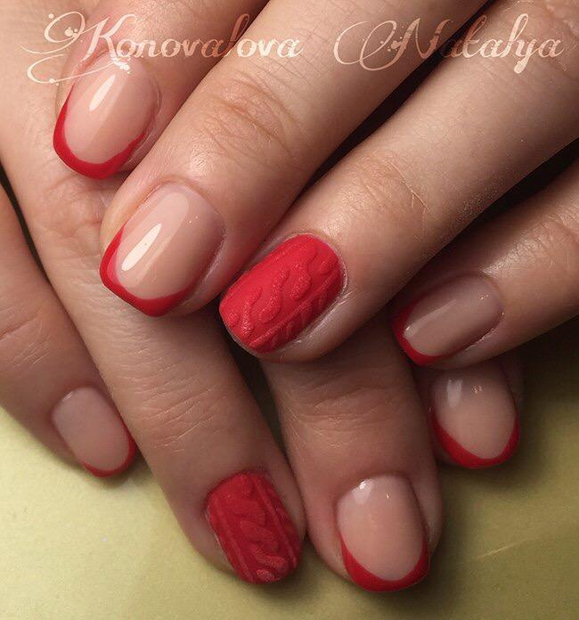 Вязаный маникюр с френчем в красном цвете