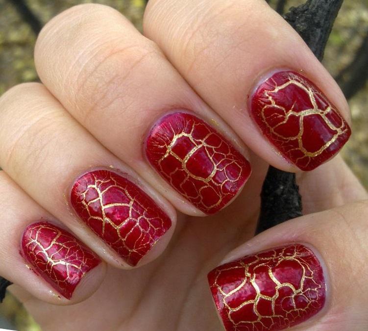 Ярко-красный кракле с золотой основой