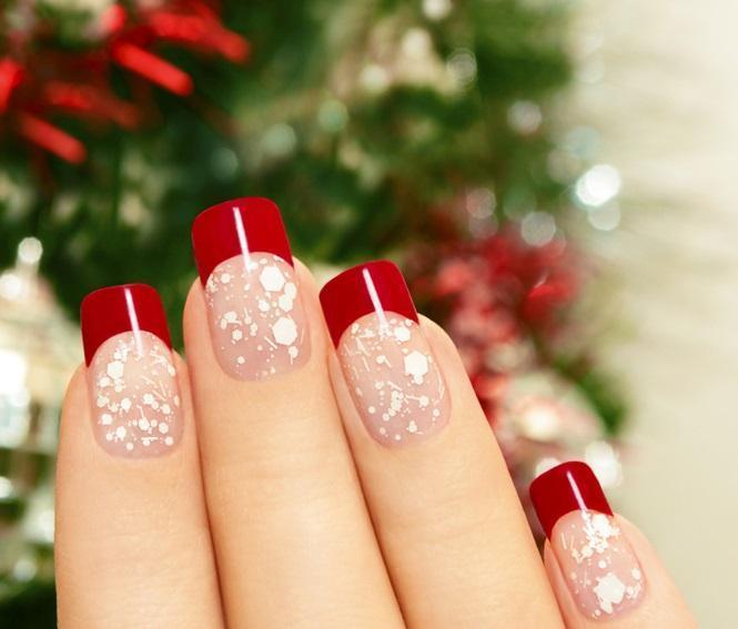 Новогодний красный френч со снежинками