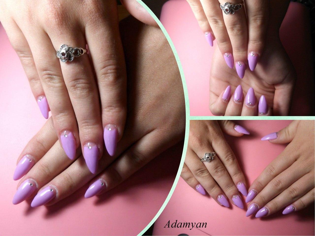 Длинные сиреневые ногти идеальной формы