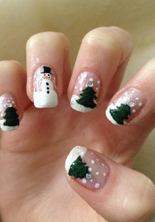 Новогодняя роспись на ногтях: елки и снеговики