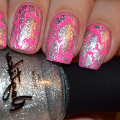 Ярко-розовый кракелюр с серебром