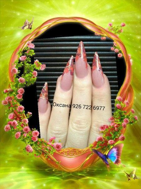Острые наращенные ногти с цветами