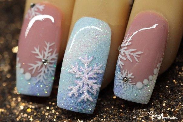 Гель-лак дизайн ногтей зима
